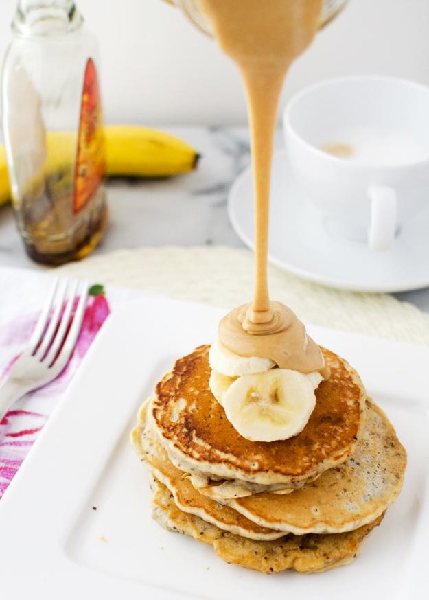 chia pancakes peanut butter sauce vegan recipe