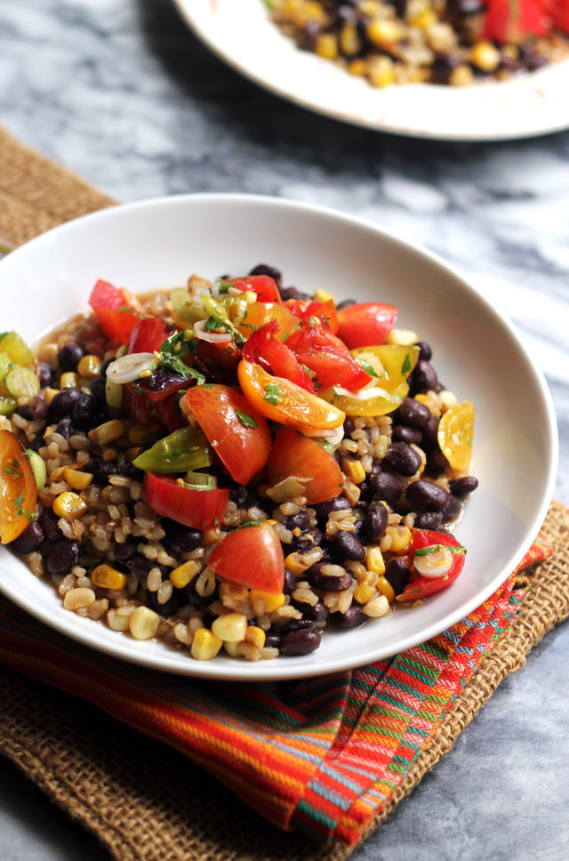Skillet Brown Rice and Beans with Heirloom Tomato Salsa
