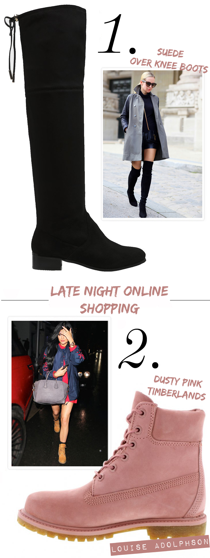 dusty pink timberlands carvela over knee suede boots kim kardashian kylie jenner fashion blogger late online shopping