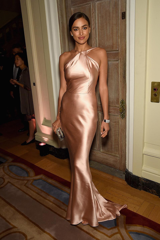 fashion irina shyak party beige dress silk dior inspiration