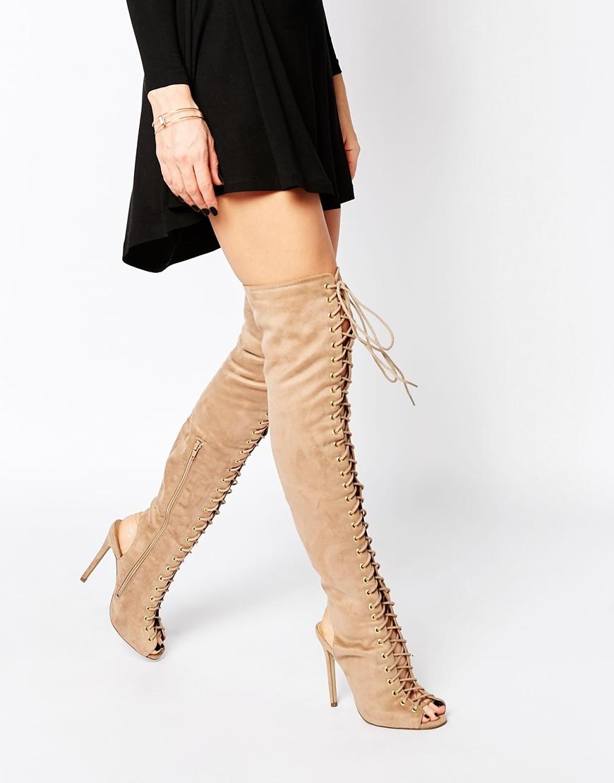 suede nude beige overknee boots asos
