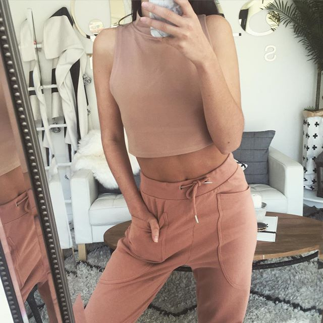 tracksuit nude beige fashion outfit inspo