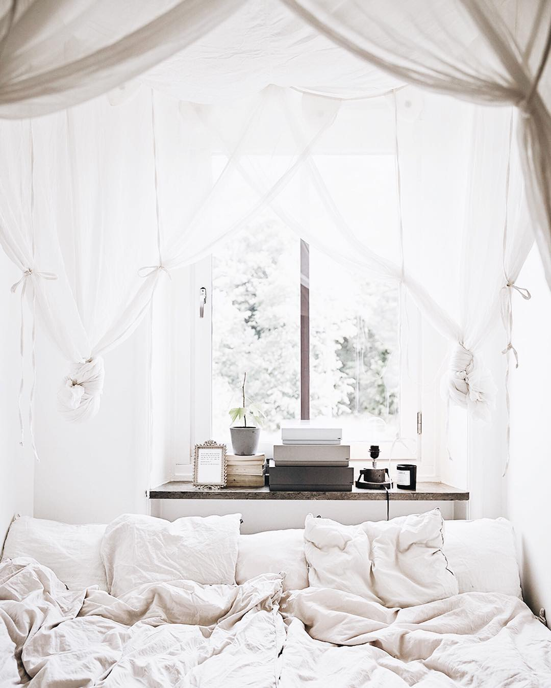 interior inspiration white bed white pillow dreamy