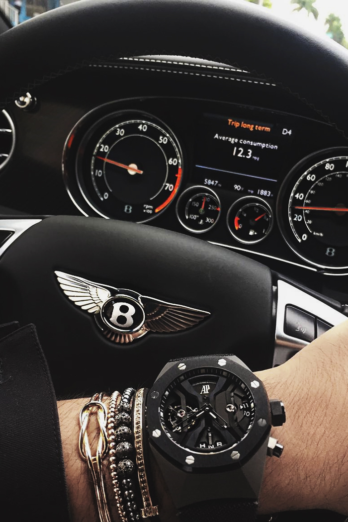 bentley audemars watch dark grey silver boss inspo