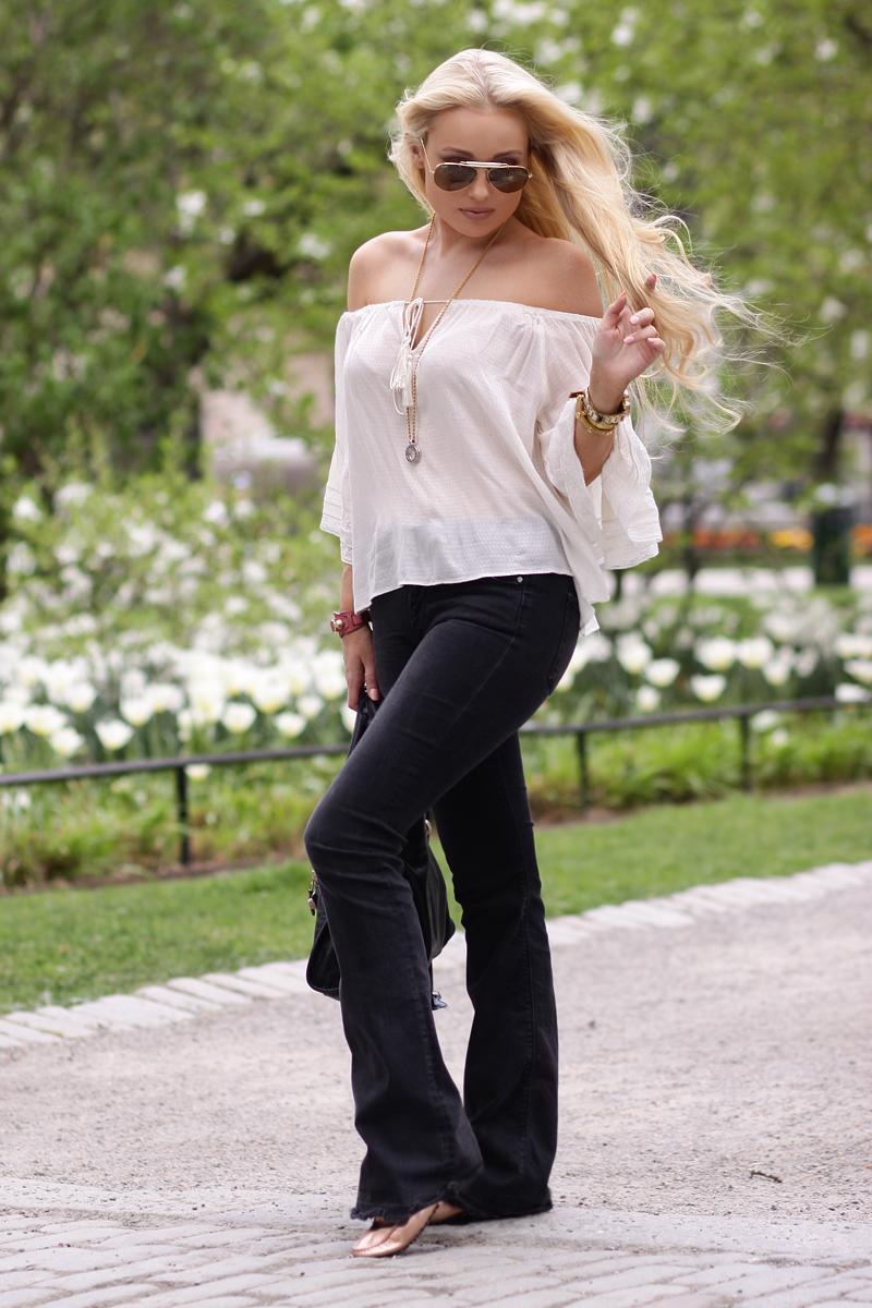 boho chic bohemic top flare jeans zara balenciaga