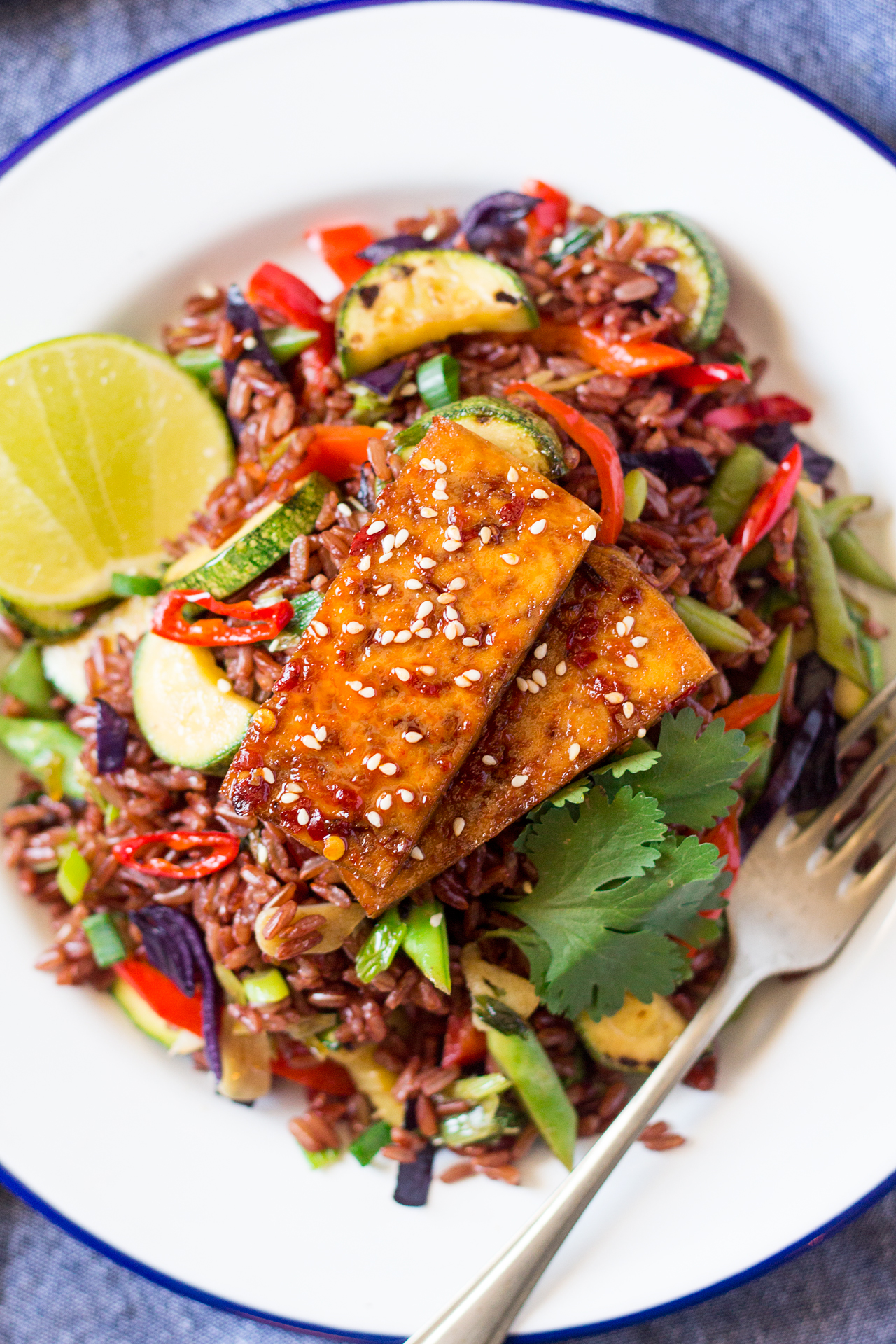 Red rice stir-fry with spicy tofu + an announcement recipe