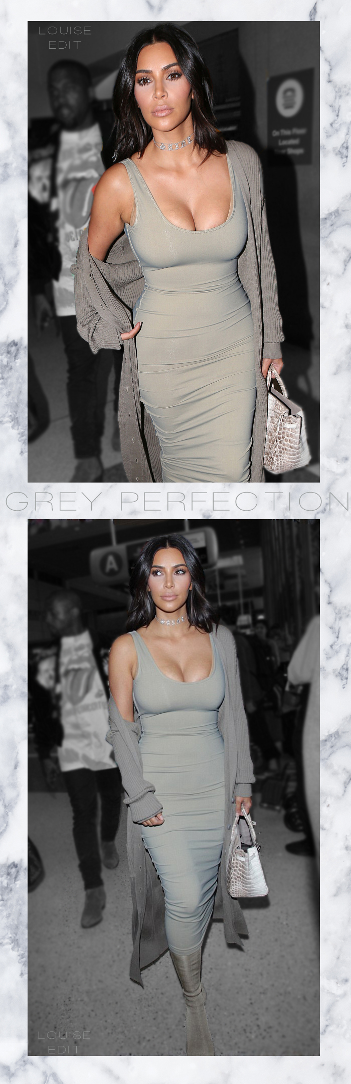 kim kardashian best outfits grey dress birkin bag kanye west airport la