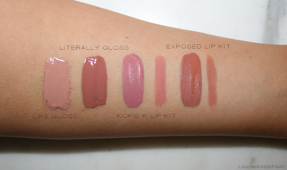 kylie cosmetics collection swatches koko k exposed lip kit