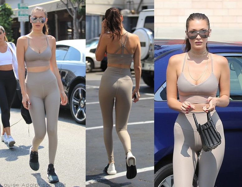 Bella hadid nude leggings crop top out in la streetstyle