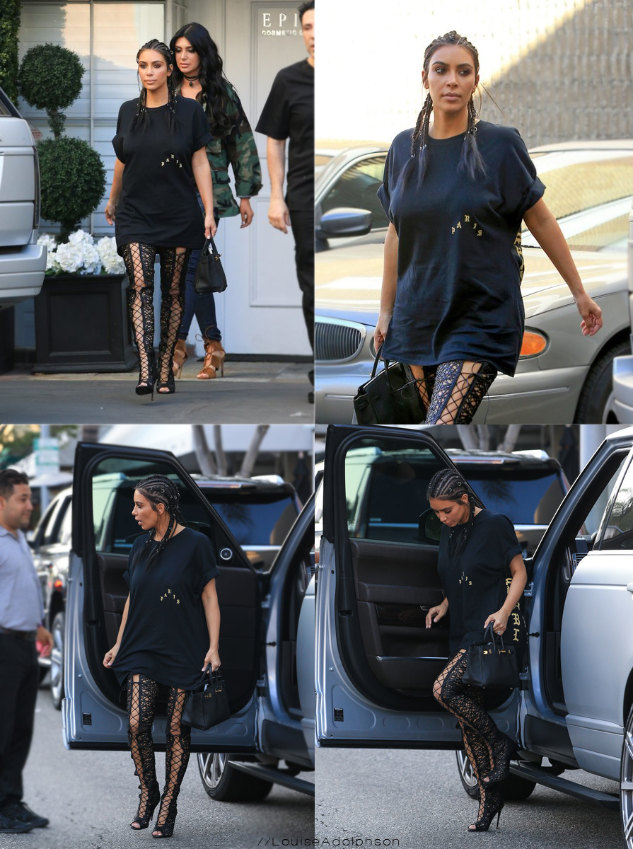 kim kardashian out in la 4 august birkin bag high heeled boots Kim Kardashian Visits Epione Cosmetic Dermatology Clinic