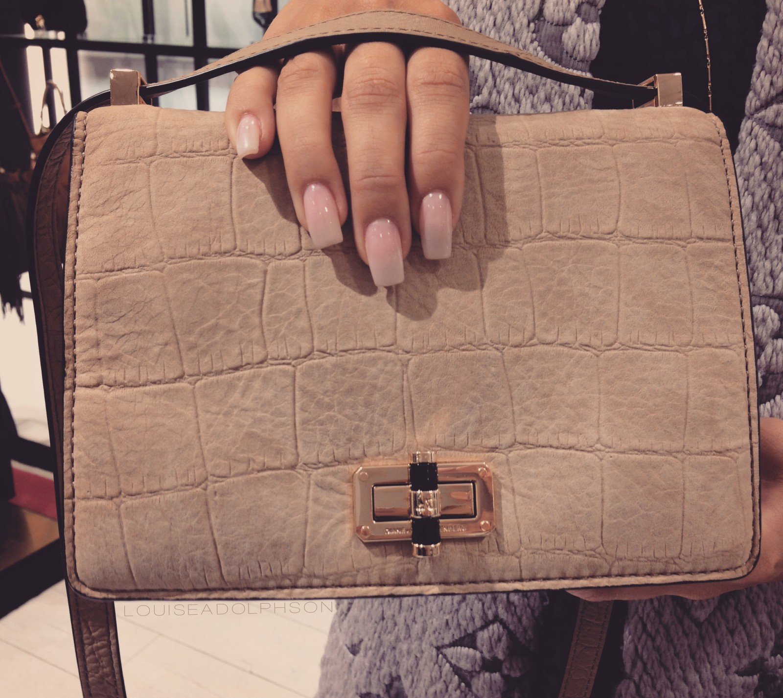 perfect bags for fall DVF beige suede bag