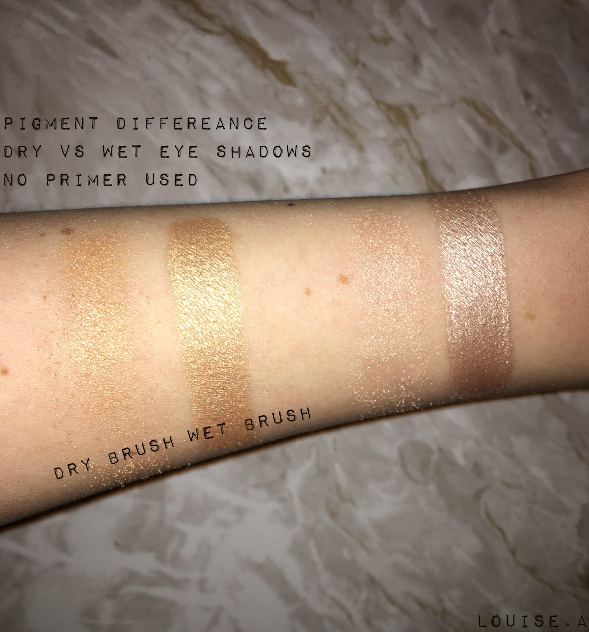dry and wet eyeshadow swatches